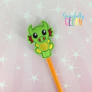 Dragon Pencil Topper ITH Embroidery Design 4x4 hoop (and larger)
