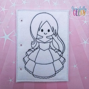 Princess 7 quiet book coloring page ITH embroidery design 5x7 hoop