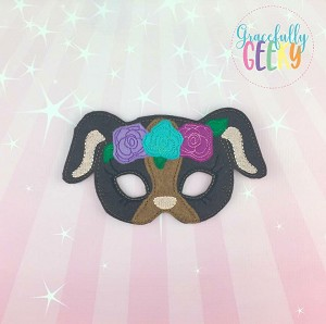 Girly Puppy Mask  Embroidery Design - 5x7 Hoop or Larger