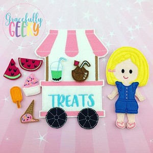 Summer Treats Play Set with Mina Dress up Doll and accessories - Embroidery Design 5x7 hoop or larger