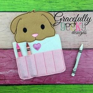 Love Letter Puppy Crayon Holder Embroidery Design - 5x7 Hoop or Larger