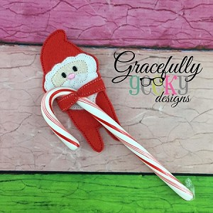 Santa Candy Hugger Embroidery Design 4x4 hoop and up