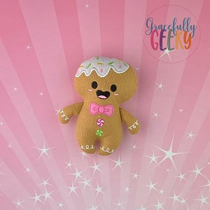Gingerbread Man Felt Stuffie Embroidery Design - 5x7 Hoop or Larger