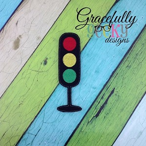 Traffic Light Felt Board Piece ITH Embroidery Design - 5x7 Hoop or larger