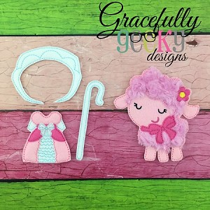 Little Lamb Dress up Set - Embroidery Design 5x7 hoop or larger