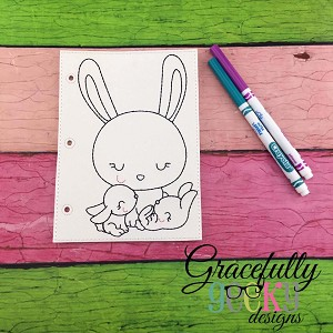 Bunny mom and babies quiet book coloring page ITH embroidery design 5x7 hoop
