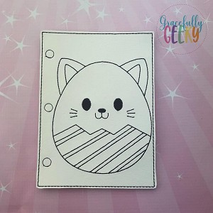 Cat Easter Egg quiet book coloring page ITH embroidery design 5x7 hoop