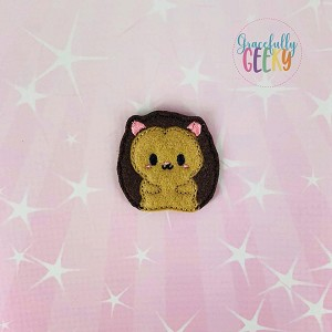 Cute Hedgehog Feltie ITH Embroidery Design 4x4 hoop (and larger)