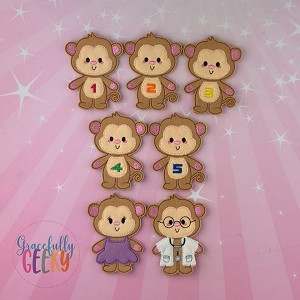 5 little monkeys finger puppet set - Embroidery Design