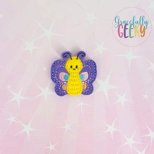Kawaii butterfly 2 Feltie ITH Embroidery Design 4x4 hoop (and larger)