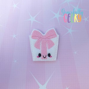 Kawaii Present Feltie ITH Embroidery Design 4x4 hoop (and larger)