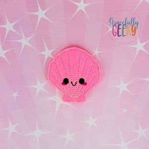 Kawaii seashell 1 Feltie ITH Embroidery Design 4x4 hoop (and larger)