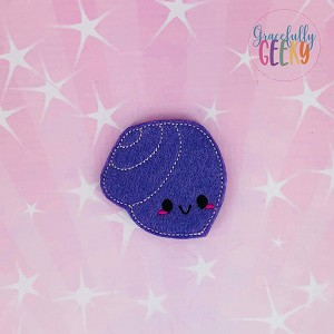 Kawaii seashell 5 Feltie ITH Embroidery Design 4x4 hoop (and larger)
