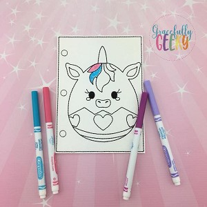 Unicorn Easter Egg quiet book coloring page ITH embroidery design 5x7 hoop