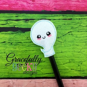 Ghost Pencil Topper ITH Embroidery Design 4x4 hoop (and larger)