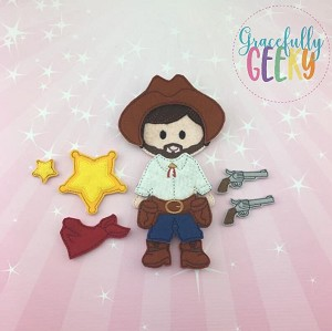 Cowboy Dress up Doll and accessories - Embroidery Design 5x7 hoop or larger