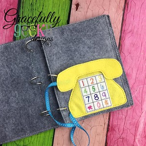 Phone Quiet Book Page Embroidery Design - 5x7 Hoop or Larger