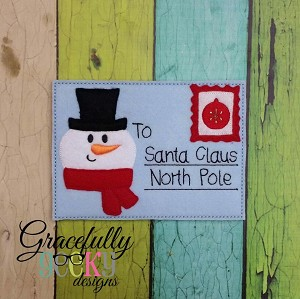 Snowman Santa Letter Embroidery Design 5x7 hoop and up