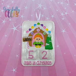 Fireplace Elf Countdown to Christmas Embroidery Design