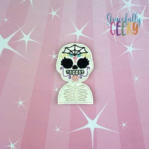 Sugarskull Spiderweb Feltie ITH Embroidery Design 4x4 hoop (and larger)