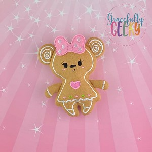 Gingerbread Bear / Mouse Girl Stuffie Embroidery Design - 5x7 Hoop or Larger