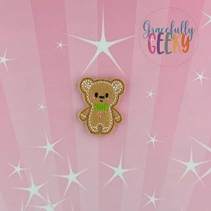 Gingerbread Boy Bear Feltie ITH Embroidery Design 4x4 hoop (and larger)