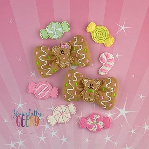 Gingerbread Felt Bow SET In the Hoop Embroidery Design - 5x7 Hoop or Larger