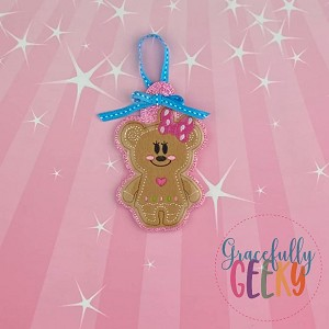 Gingerbread Mouse Girl Ornament Embroidery Design - 4x4 Hoop or Larger