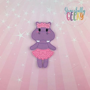 Hippo Ballerina Flat Doll (Clothes Attached) - Embroidery Design 5x7 hoop or larger