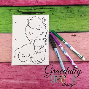 Llama Mom And Baby Quiet Book Coloring Page ITH Embroidery