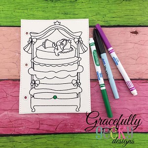 Pea Princess quiet book coloring page ITH embroidery design 5x7 hoop