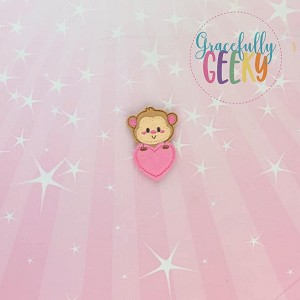 Monkey Heart Feltie ITH Embroidery Design 4x4 hoop (and larger)