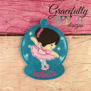 Ballerina ornament Embroidery Design 4x4 hoop and up