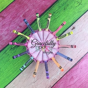 Round Crayon Holder Embroidery Design - 5x7 Hoop or Larger