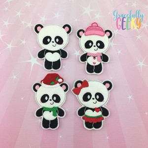 Panda Family  finger puppet set - Embroidery Design