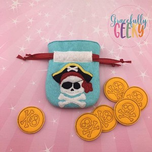 Pirate Drawstring Bag Embroidery Design - 5x7 Hoop or Larger Release: Nov26 OCTW3