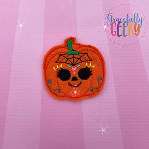 Pumpkin Sugarskull Spiderweb Feltie ITH Embroidery Design 4x4 hoop (and larger)