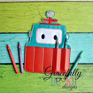 Robot Crayon Holder Embroidery Design - 5x7 Hoop or Larger