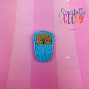 Puppy Sleeping Bag Feltie ITH Embroidery Design 4x4 hoop (and larger)