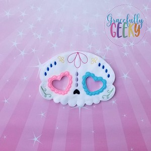 Sugarskull Heart Eyes Mask Embroidery Design - 5x7 Hoop or Larger