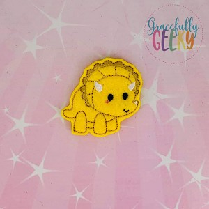 Triceratops Feltie ITH Embroidery Design 4x4 hoop (and larger)