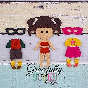 Nerdy Supergirl Dress up Doll - Embroidery Design 5x7 hoop or larger