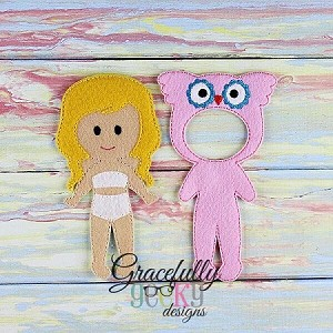Owl Dress up Outfit (OUTFIT ONLY)- to fit GGD Dress up dolls - Embroidery Design 5x7 hoop or larger