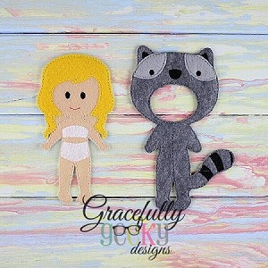 Raccoon Dress up Outfit (OUTFIT ONLY)- to fit GGD Dress up dolls - Embroidery Design 5x7 hoop or larger