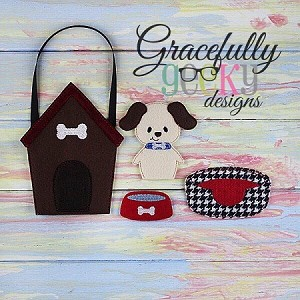 Dog House Set Busy Bag Embroidery Design - 5x7 Hoop or Larger
