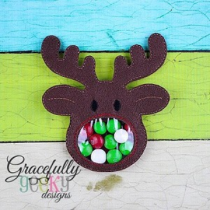 Reindeer candy pouch  ITH Embroidery Design 4x4 hoop (and larger)