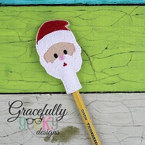 Santa Pencil Topper ITH Embroidery Design 4x4 hoop (and larger)