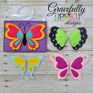 Butterfly Set Busy Bag and Finger Puppets Embroidery Design - 5x7 Hoop or Larger