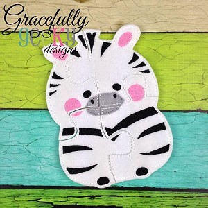 Zebra Puzzle with Pouch Embroidery Design - 5x7 Hoop or Larger