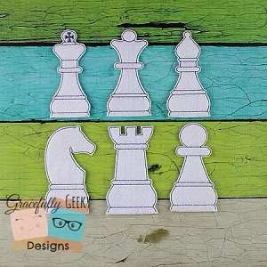 Chess Finger Puppet set Embroidery Design - 4x4 Hoop or Larger